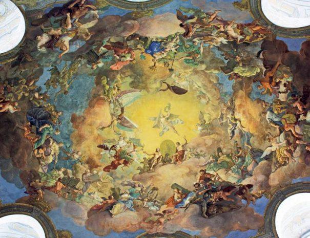 A Nemzeti Könyvtár dísztermének mennyezeti freskója