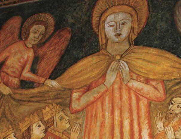Köpenyes Madonna a gerényi rotunda freskóján